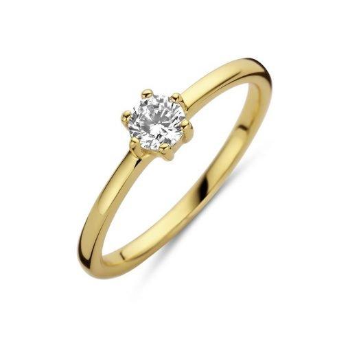 Zilveren dames ring met goud plating - Trendy Juweeltjes