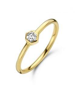 Zilveren dames ring met goud plating 9nb-551 - Trendy Juweeltjes