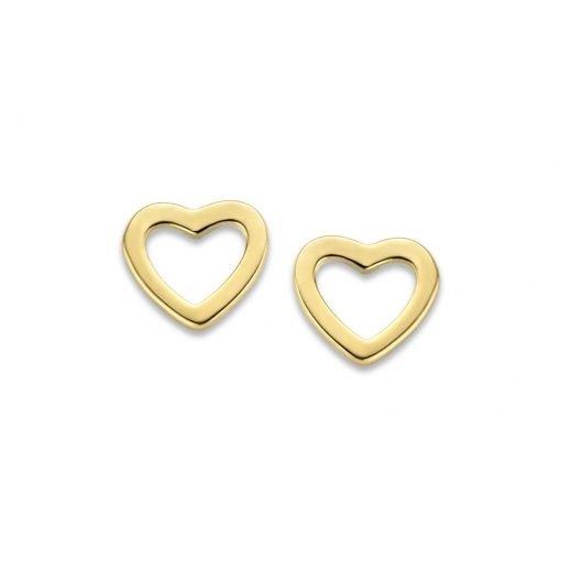 Gouden oorbellen open hartje - Trendy Juweeltjes